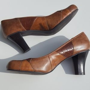 Madden Girl | Tan Patchwork Leather Heels size 9